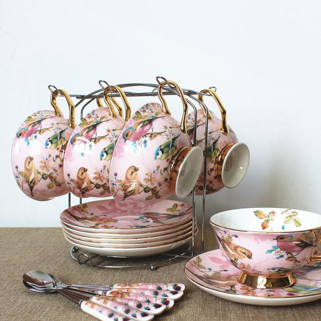 响佳 欧式创意骨瓷咖啡杯碟勺带架套装 田园风陶瓷金边下午茶具