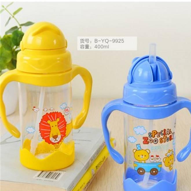 婴儿防漏吸管杯 带手柄饮水杯小孩儿童水壶 宝宝喝水杯学饮杯批发