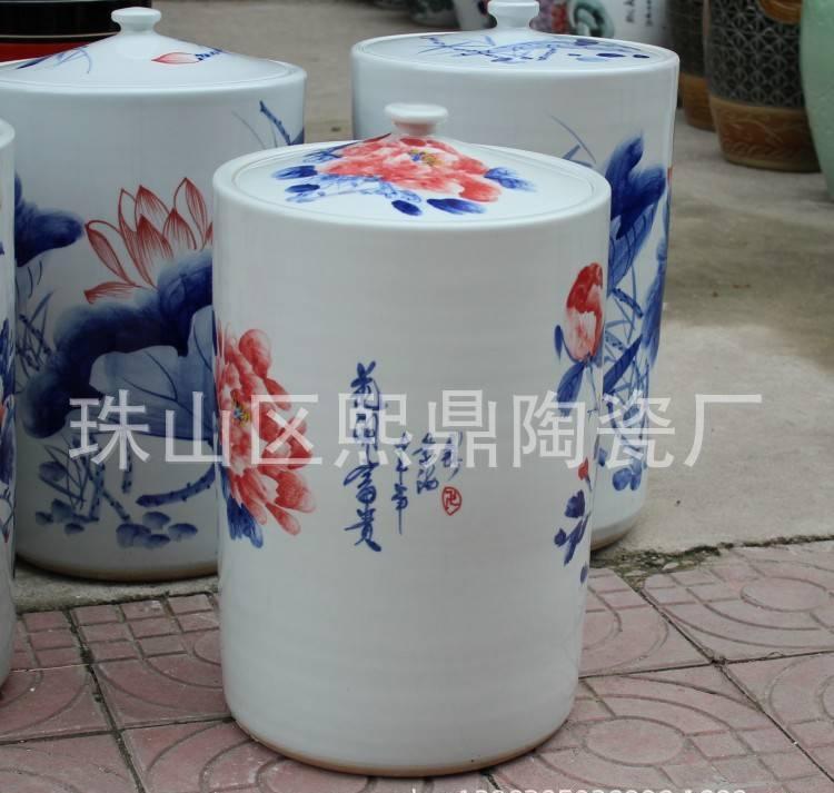 景德镇陶瓷米罐 茶叶罐 杂粮罐  手绘釉下彩牡丹精致家居摆件批发