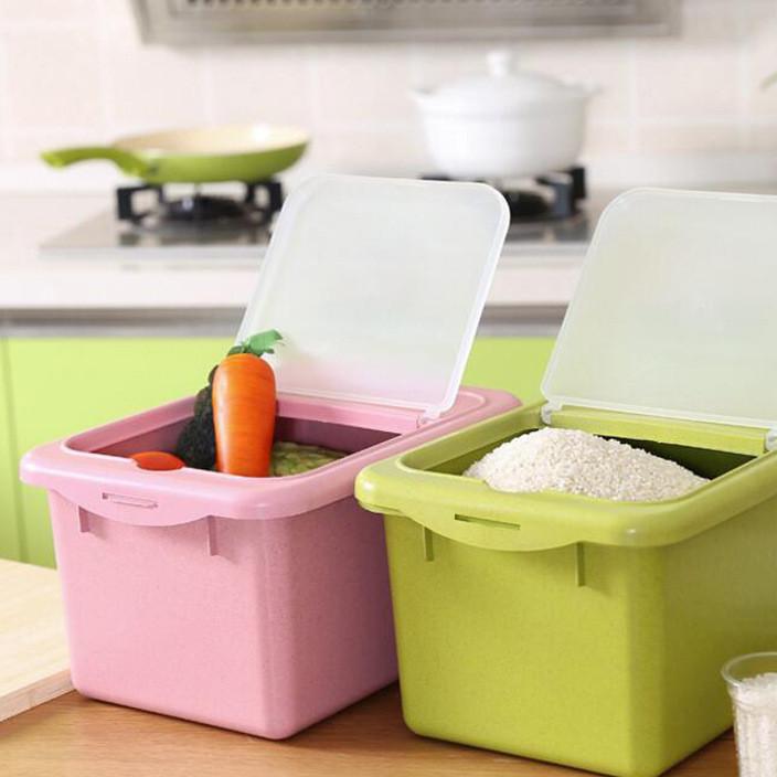 小麦秸秆防虫防潮装米桶 塑料面粉桶厨房米缸米罐 储米盒 450g