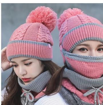 帽子围脖口罩三件套冬天骑车帽加绒加厚毛线帽针织围脖帽电瓶车帽