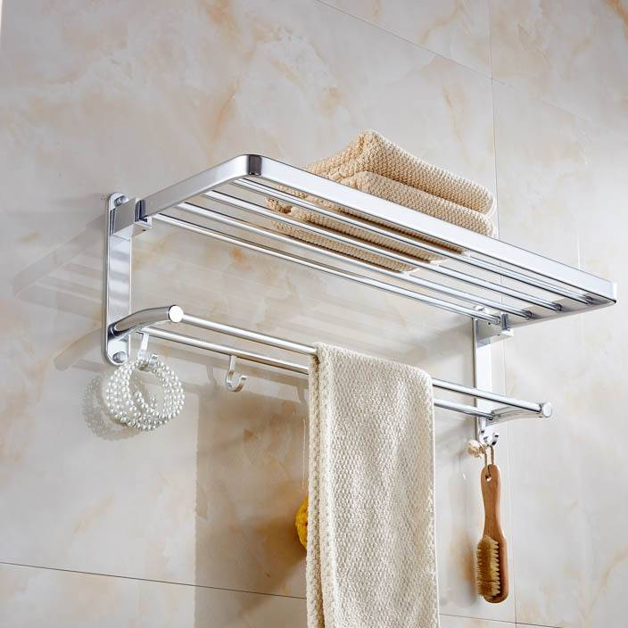 批发浴室太空铝置物架毛巾架 太空铝浴巾架厨卫挂件置物架