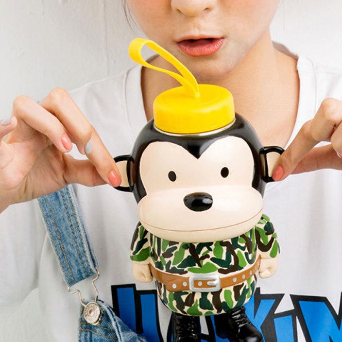新款可爱卡通萌猴不锈钢保温杯大嘴猴儿童学生情侣杯子水杯保温壶