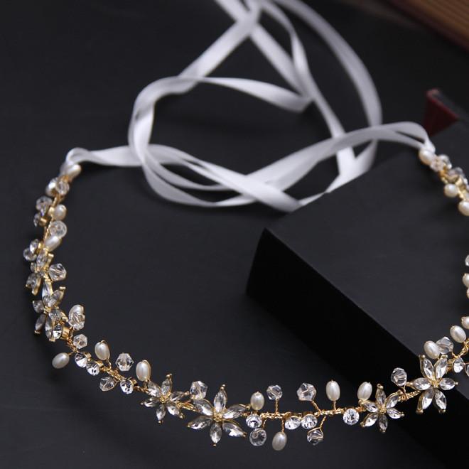 新娘头饰韩式金色镶钻珍珠水晶发带结婚纱礼服盘发跟妆发饰品批发