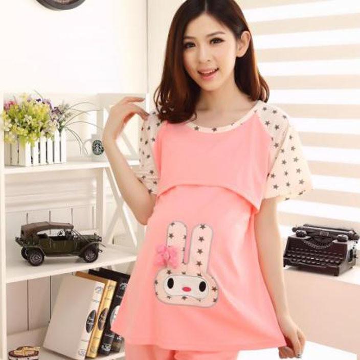 夏季月子服 短袖孕妇装产后睡衣针织棉质哺乳服产妇外出喂奶衣