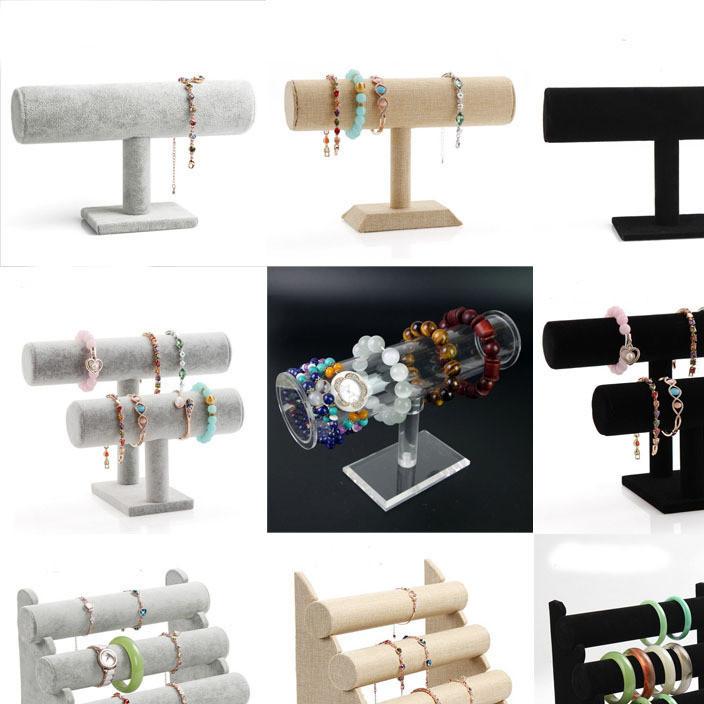 绒布单层三层手镯架首饰饰品麻布展示架手表 手链架子展示架