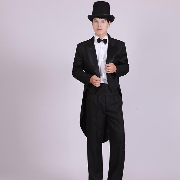 男装礼服 黑色燕尾服 圣诞节 魔术表演服装 爵士礼服 舞蹈比赛