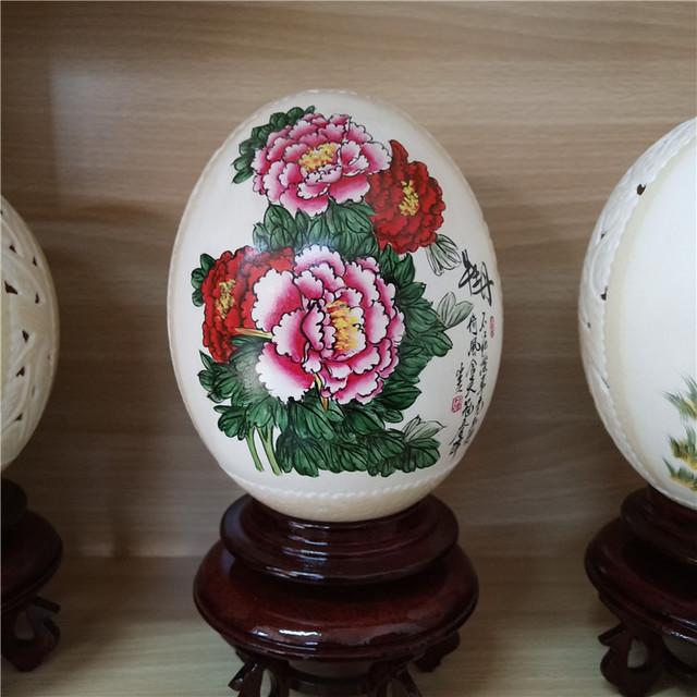 鸵鸟蛋纯手工镂空雕刻工艺品 鸵鸟蛋彩绘加工 鸵鸟蛋壳灯饰台灯