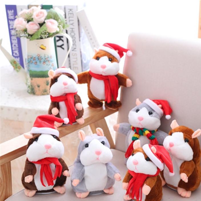 圣诞款电动学说话会走路毛绒仓鼠玩具公仔 儿童互动玩偶生日礼物