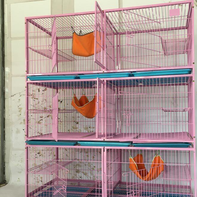 厂家供应金属铁丝宠物窝 折叠带底网宠物笼子龙猫笼防锈托盘猫窝