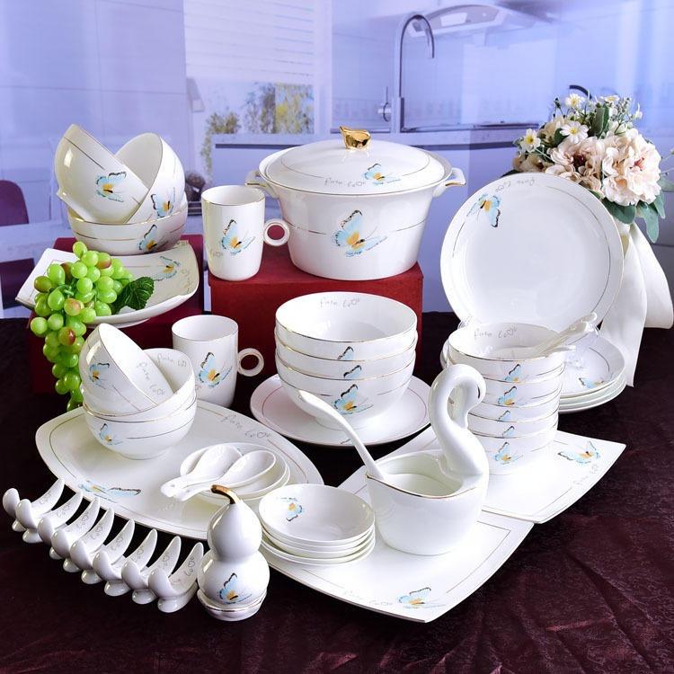 唐山唯奥陶瓷骨瓷餐具欧式碗碟套装 家用50头西式陶瓷餐具商务礼品定制