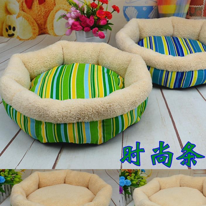 Manufacturer wholesale pet supplies new hot selling flanged striped dog kennel comfortable cotton wool breathable cat kennel fashion dog bed