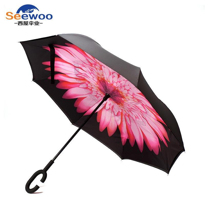 雨伞太阳伞定做 免持式反向伞双层车载雨伞定制 直杆雨伞广告伞批发 商务礼品伞厂家