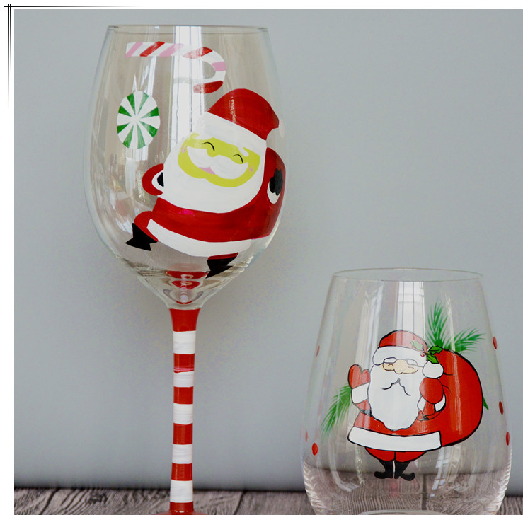 Manufacturers wholesale custom custom painted grape hand wine wine glass blowing egg-shaped Christmas goblet set modification