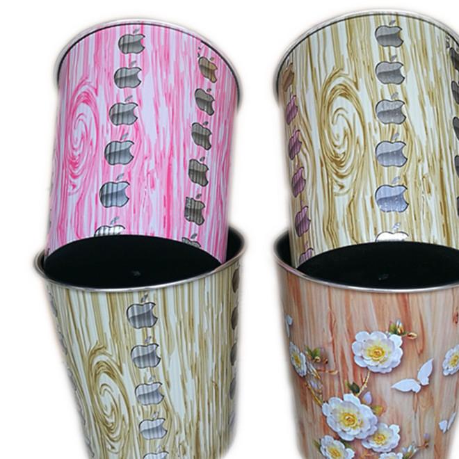 厂家直销 家用垃圾桶 客厅包边塑料垃圾桶 特色花纹纸垃圾桶