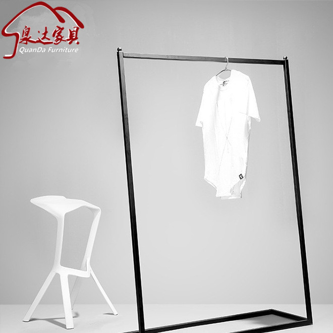 Nordic simple clothes display rack iron art side hanging in the island rack home clothing rack single pole hanger