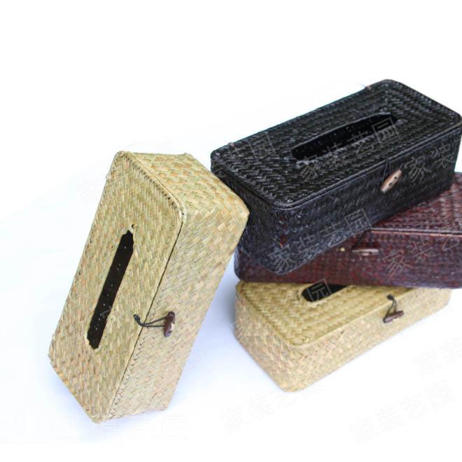 家装艺园 抽取式草编纸巾盒 非藤编l纸巾盒 长方形手工编织纸巾盒