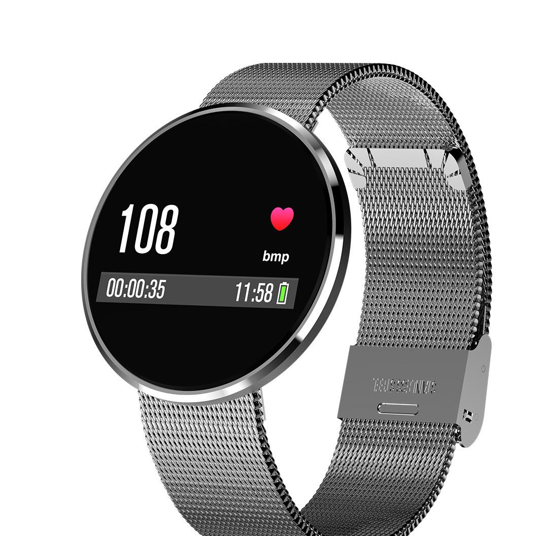 新款CF006H彩屏血压心率防水时尚钢表带蓝牙计步运动智能手环礼品