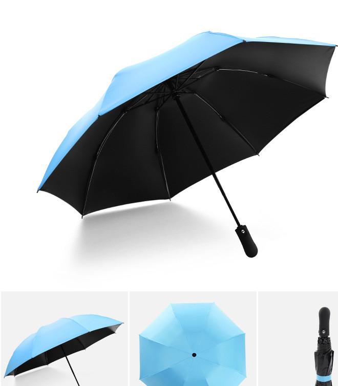 全自动折叠反向伞三折汽车反收伞外贸雨伞黑胶遮阳防晒晴雨伞