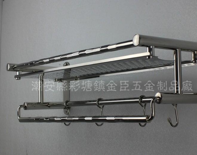 厂家供应836实用高档厨卫挂件/不锈钢带钩置物架/卫浴挂架