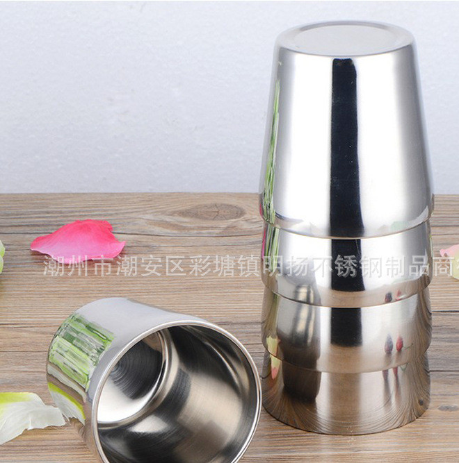 Manufacturers direct sales stainless steel wine glass casual glass beer glass double deck portable step mug