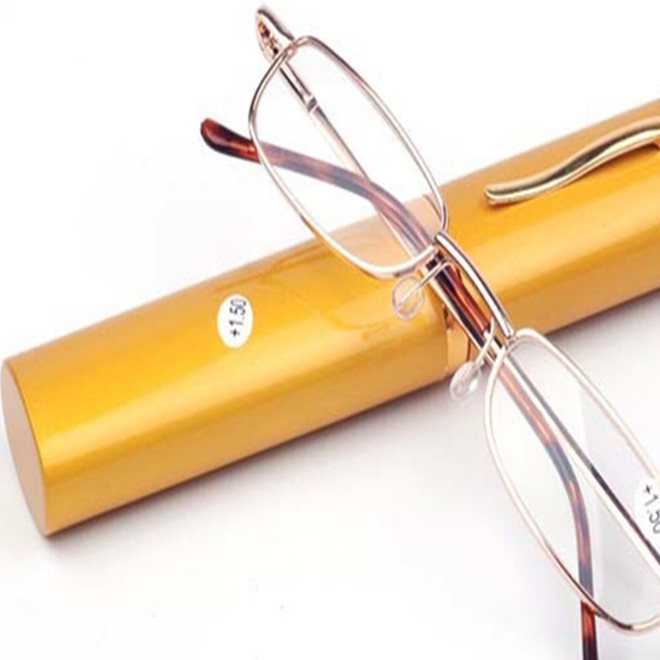 厂家直销笔筒老花镜 金属弹簧脚老花眼镜 联体脚丝老花眼镜