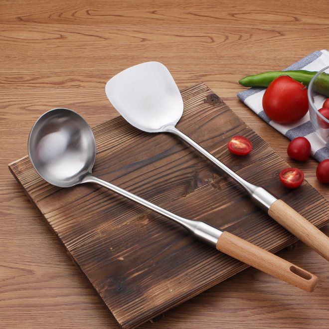Kitchen utensils wholesale spatula soup spoon set of two stainless steel kitchen essential utensils stir-fry shovel promotional gifts