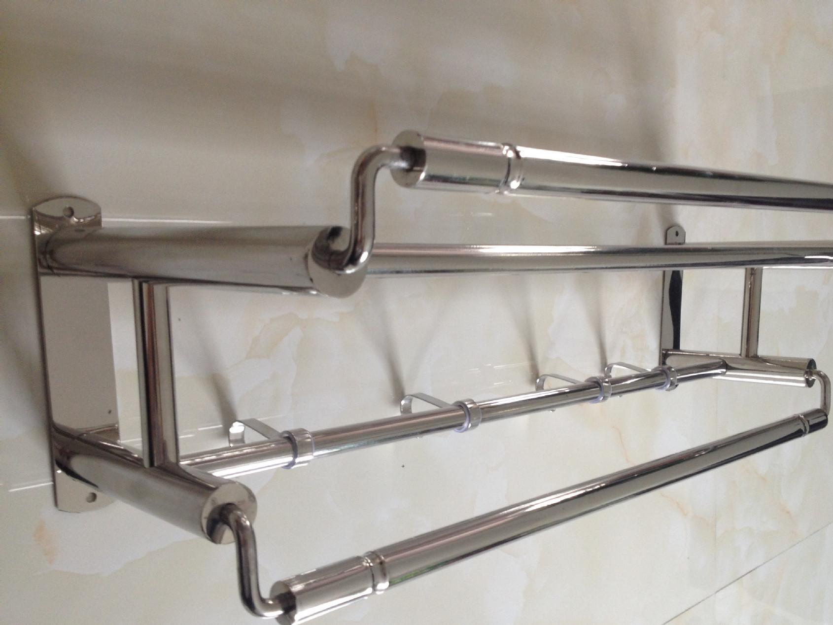 批发不锈钢单层浴巾架置物架 厨卫挂件浴室加宽加高不锈钢毛巾架