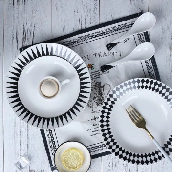 Customized black and white creative geometry plate family breakfast plate plate ceramic tableware steak western plate small fresh