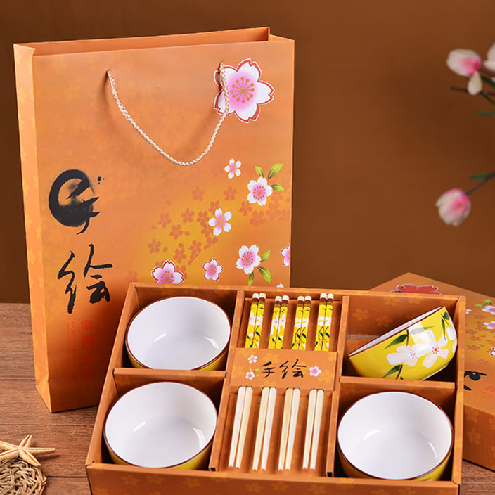 Promotional activities company small gifts custom wedding back to wholesale custom hand-painted ceramic tableware set gift box