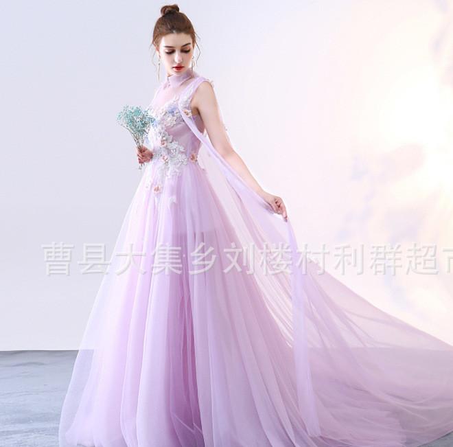 新款影楼主题服装外景拍照情侣写真长拖尾彩色婚纱刺绣礼服