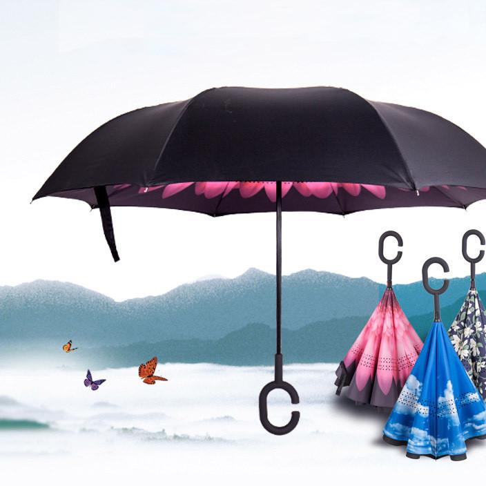 新款免持式C型汽车直杆反向伞创意双层可站立雨伞可定制LOGO批发