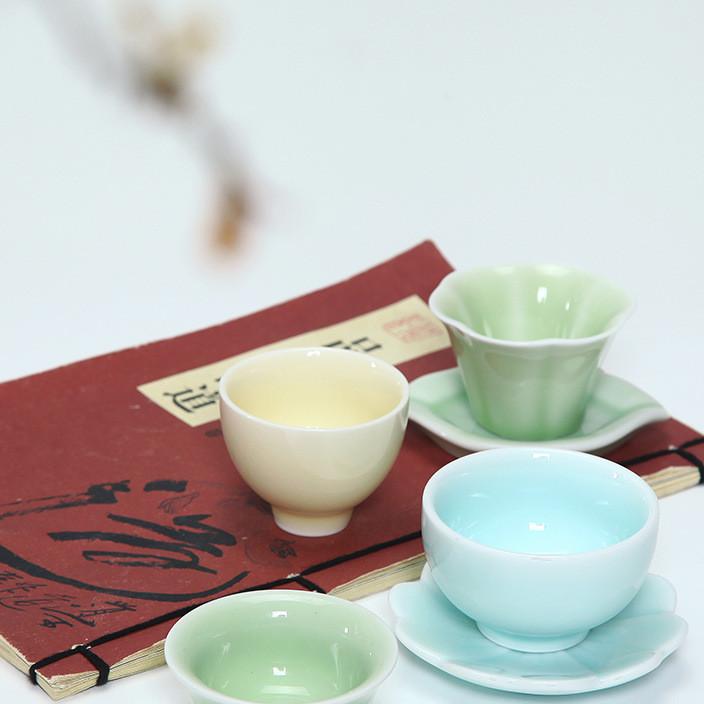 茶杯陶瓷单杯办公室纯色功夫茶具中式典雅茶杯垫青瓷创意定制礼品