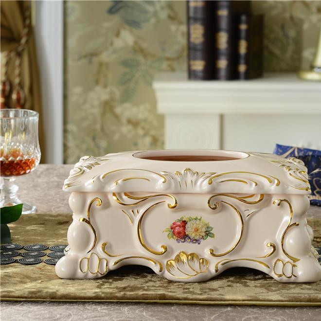 创意欧式时尚纸巾盒复古描金陶瓷抽纸盒家用环保餐巾盒纸巾筒
