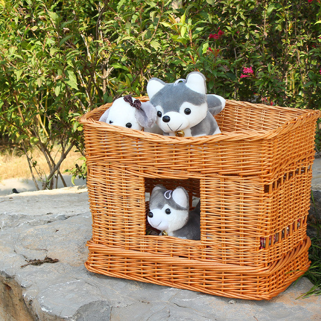 厂家直销 柳藤编宠物篮小型狗窝猫房子猫窝可拆洗宠物用品 宠物窝