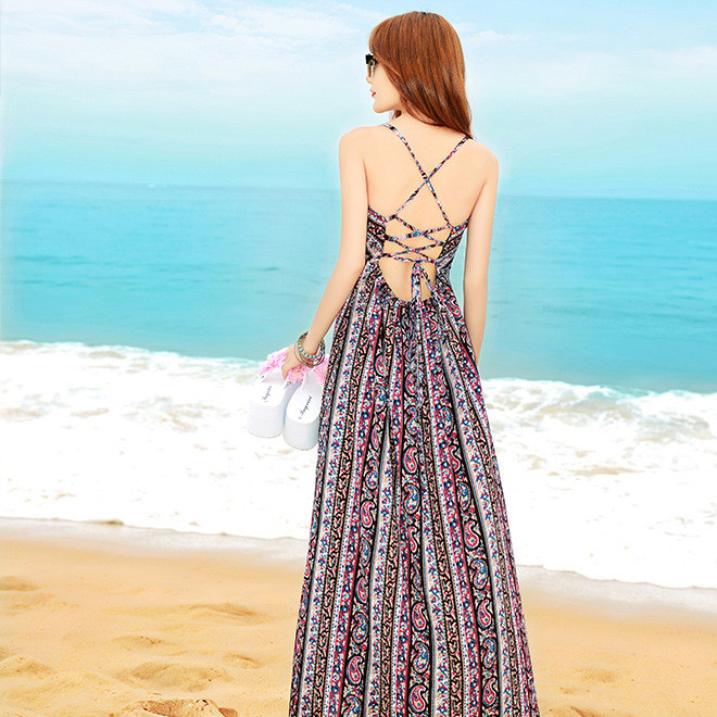 2019新款度假裙波西米亚性感露背连衣裙民族长裙夏海滩裙轻礼服