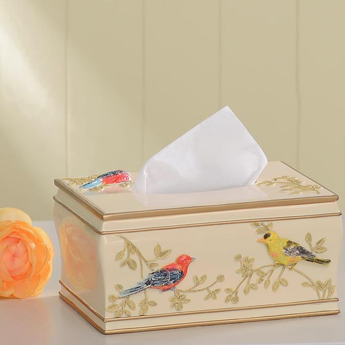 厂家直销 创意纸巾盒  好心艺新款抽纸盒 可爱小鸟树脂纸巾盒 摆