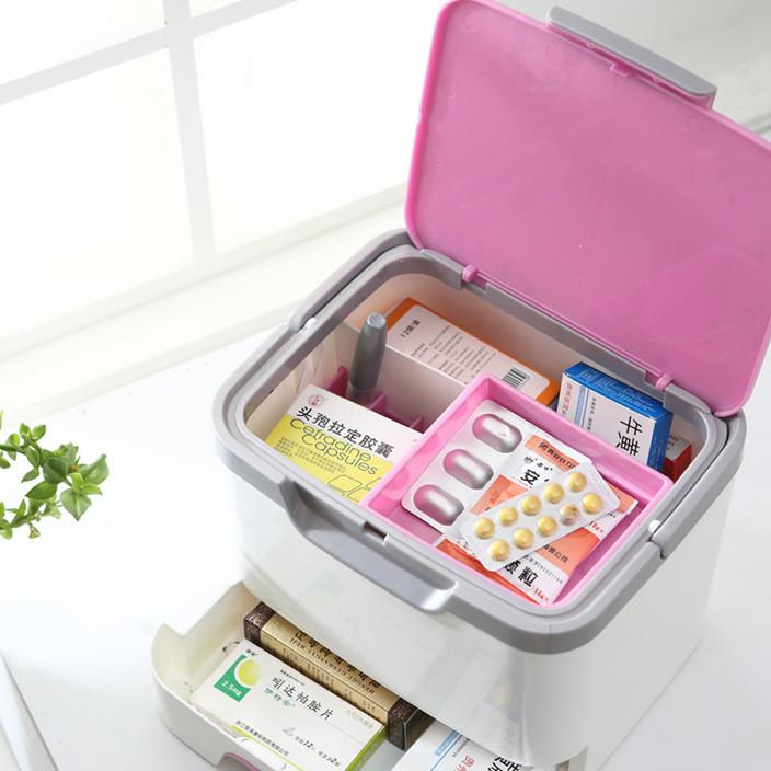 厂家直销家庭医药箱急救收纳保健箱手提便携家用化妆品整理盒