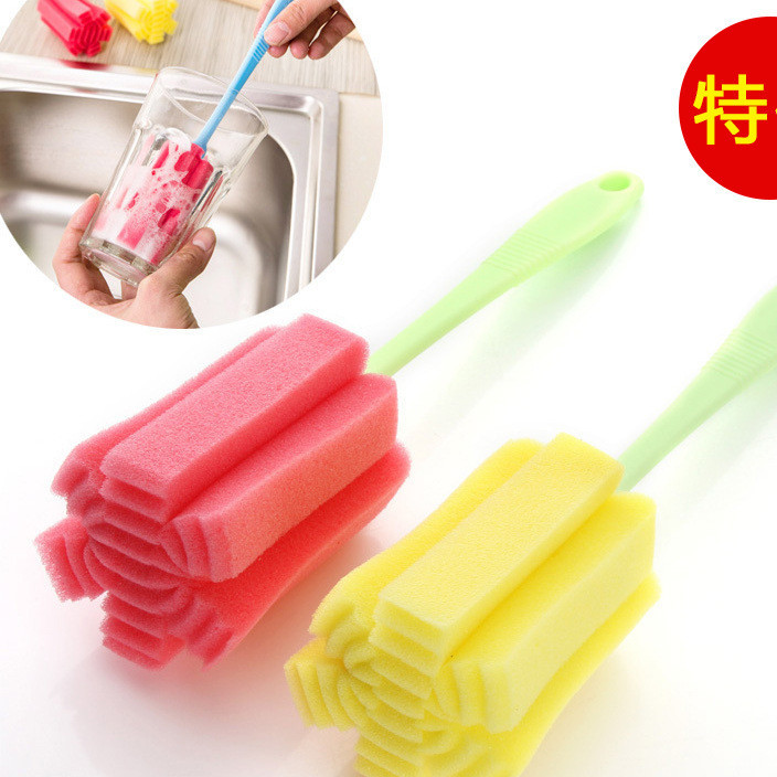 厂家直销 简易耐用杯刷 海绵清洗杯刷厨房清洁刷清洁球颜色混装