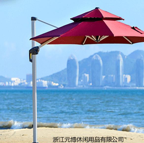 豪华爆款可定制双层圆顶庭院伞户外广告伞双顶罗马伞