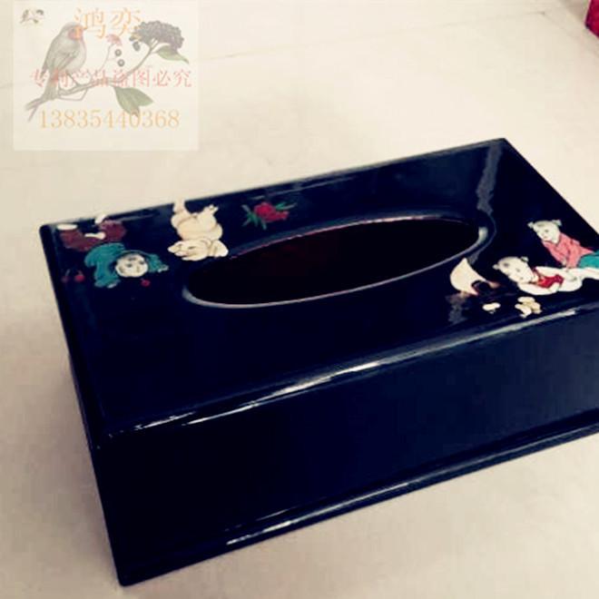 平遥推光漆器手工彩绘纸巾盒钢琴漆多功能家居饰品会所摆件定制做