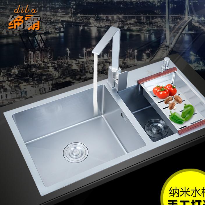 厂家直销纳米304不锈钢加厚3MM手工水槽双槽厨房洗菜盆洗碗池套餐
