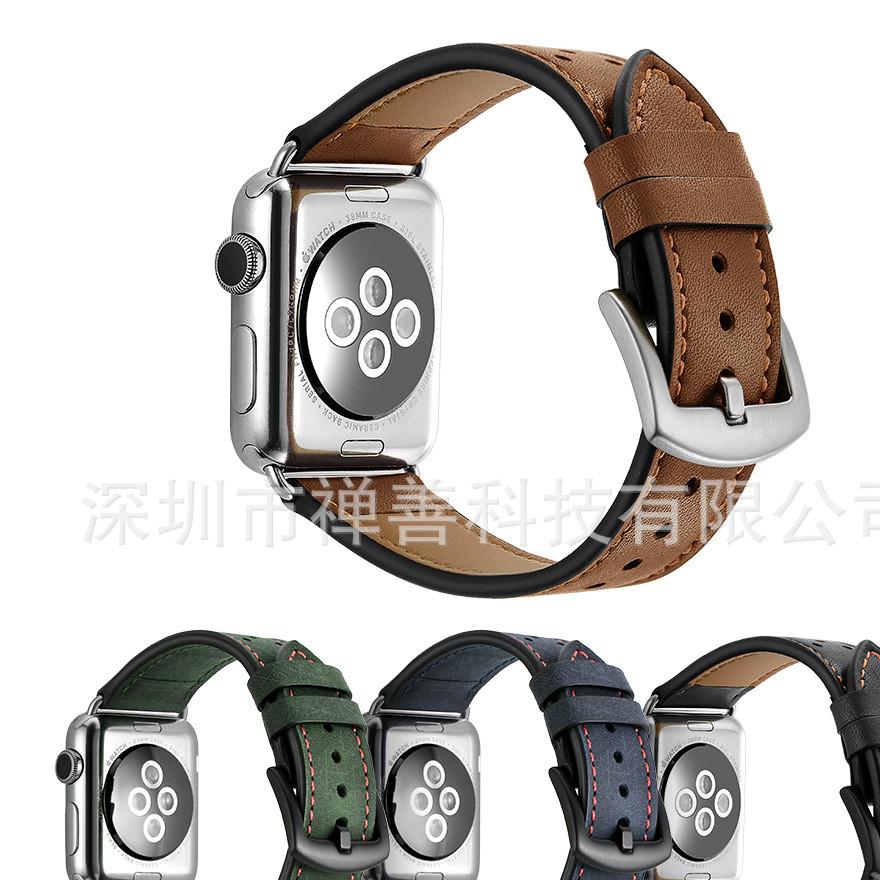 苹果手表表带Apple watch新款疯马皮波点真皮iwatch手表表带现货