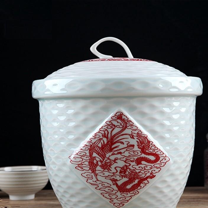 景德镇新款陶瓷米缸米桶15斤带盖储物罐面桶储米罐桶防虫防潮专用
