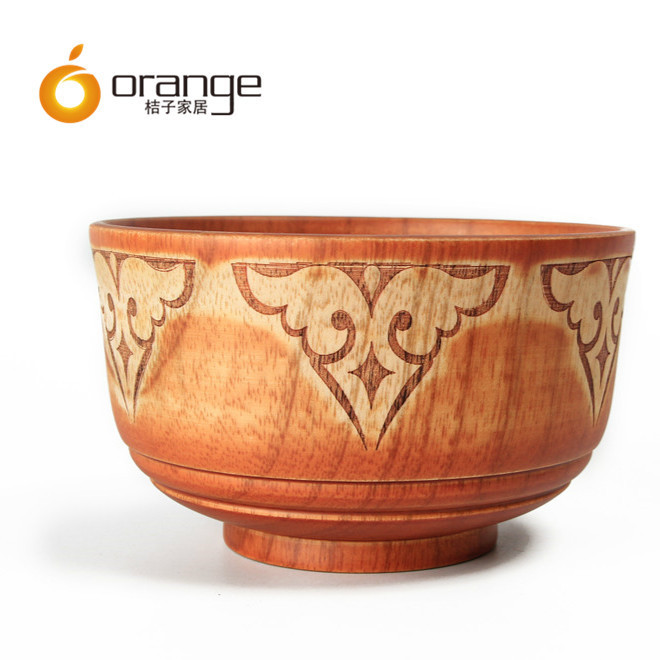 Ethnic wind wooden bowl solid wooden bowl carving pattern Mongolian special wooden bowl Mongolian wooden tableware customization