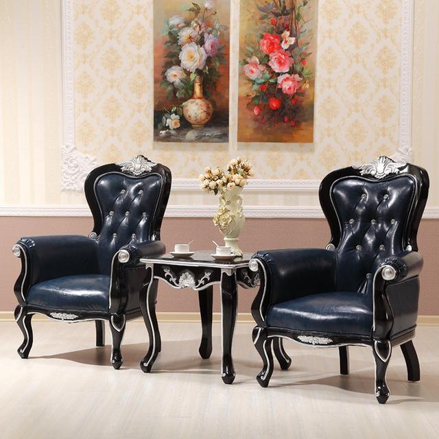 欧式沙发休闲椅新古典单人座沙发法式实木老虎椅酒店洽谈桌椅组合