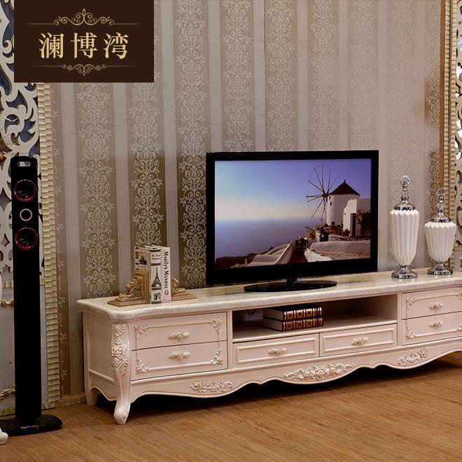 厂家供应欧式电视柜 实木雕花大理石面视听柜 欧式电视柜批发