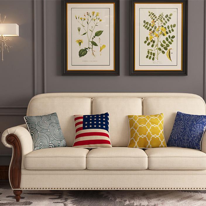 柔曼美式沙发 乡村实木布艺组合新款乳胶沙发 大厂直供客厅用沙发