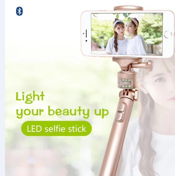 厂家直供私模移动电源补光灯三合一支架自拍蓝牙手机便携自拍杆