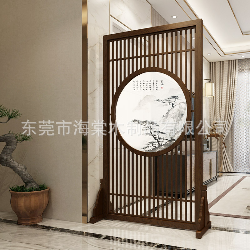 New Chinese style solid wood screen partition living room modern landscape painting fence hollow-out movable cloth art screen